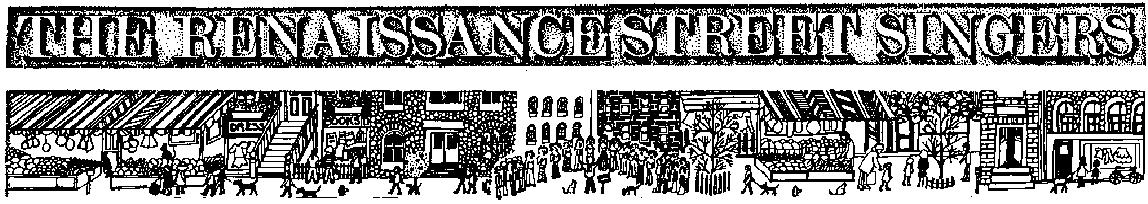 The Renaissance Street Singers - drawing by Anique Taylor, c.1977