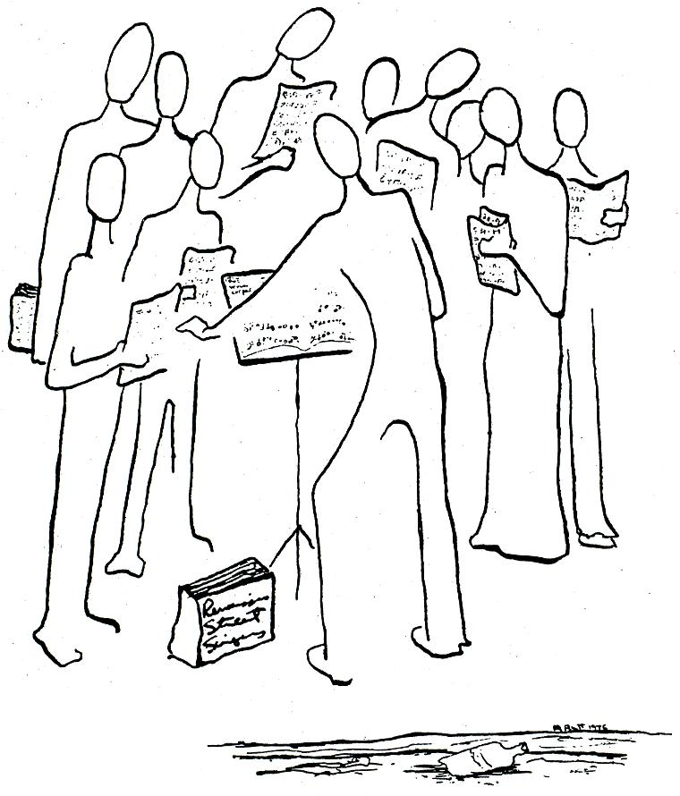 The Renaissance Street Singers, drawing by Mary Rutt, 1976