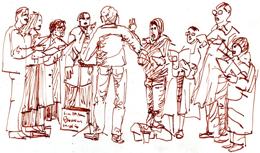 The Renaissance Street Singers - sketch by a passerby, Karl Sobel, Nov. 9, 1980